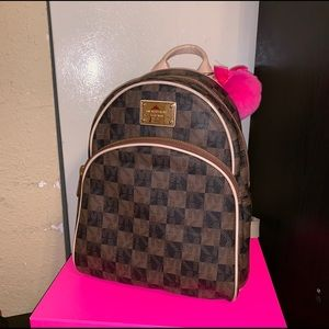 Michael Kors brown Checkerboard Backpack Abbey